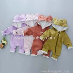 Boys and girls infants cotton vines hooded jumpsuit wholesale