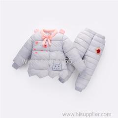 зимняя одежда для девочек наборы для детей мультфильм вниз парк + брюки костюм для девочки толстая теплая одежда снегоступы одежда