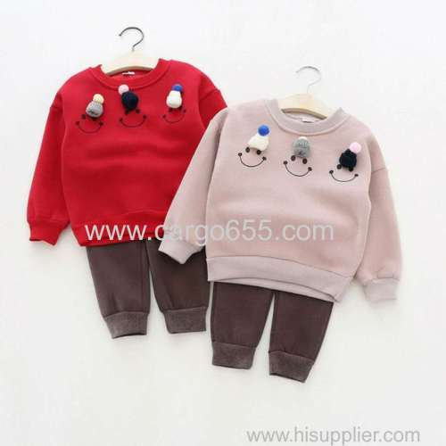 100% Cotton Long Sleeves Baby infant Clothing kids Girls boy winter clothes 2 pcs children clothing