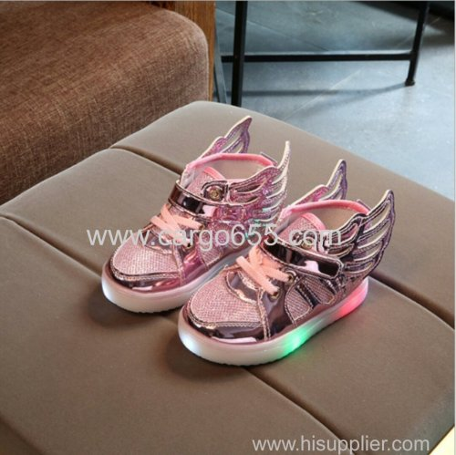 Led shoes kids New 2018 kids shoes Fashion sneakers wings casual LED Luminous Shoes Baby girls