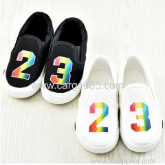 Newest style and top quality printing kids black canvas shoes for children