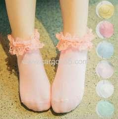 高品質のかわいい子供居心地の良い綿の靴下ファンキーな刺繍弓子供の靴下