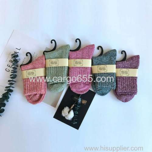 In stock autumn and winter pure color middle tube terry socks wool thickening women socks