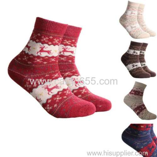 2017 Christmas Deer Socks Women Mens Cartoon Design Casual Knit Wool Socks Men Winter Warm Shorts Ankle Socks