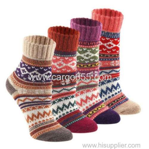 Custom Fashion Design Vintage Thick Socks Wool Cotton Women Socks Winter Warm Knitted Crew Socks