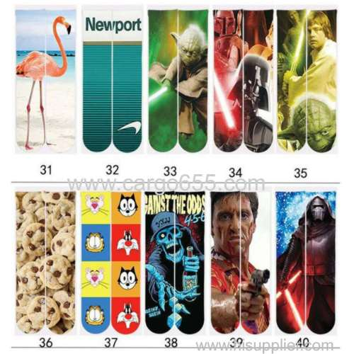 Wholesale 3D Print Man Sport Sublimation Socks
