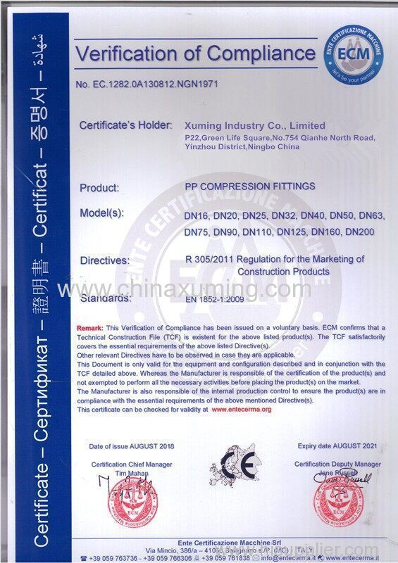 CE certificate of PP Compression Fittings
