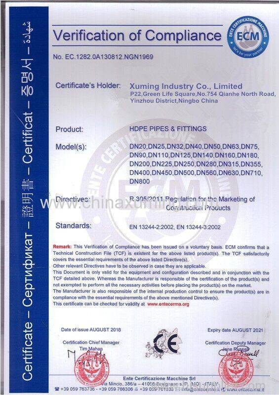 CE certificate of HDPE Pipes & Fittings