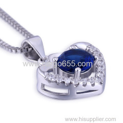 Sterling Silver Pendant Charm Pendent Fashion Design Hollow Pave Heart Shaped Jewelry Necklace