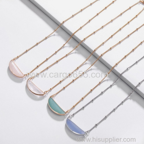 Good Dainty Half Moon Faceted Crystal Necklace Semi Half Circle Marble Necklace Stone Jewely