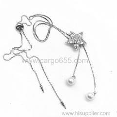 ホット販売新しい女性は真珠とペンダントチェーンのネックレスシルバーメッキ