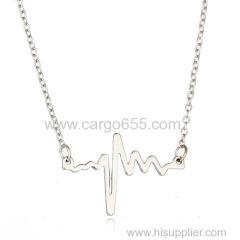 シンプルな形のホットセールハートビート愛カスタマイズされた心電図記号チャームネックレスネックレスの場所