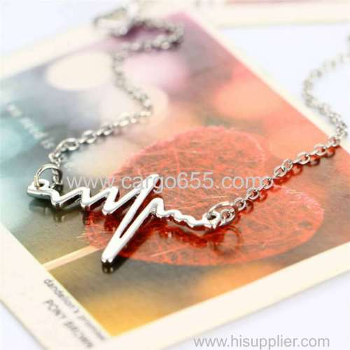 Simple Shape Hot Selling Heartbeat Love Customized Electrocardiogram Symbol Charm Necklace Necklaces Place