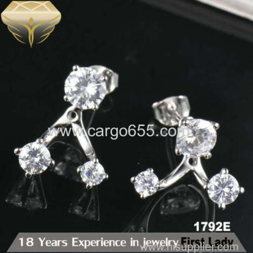 Fashion silver 925 stud earrings three round zircons multiple wear jewerly wholesale lots