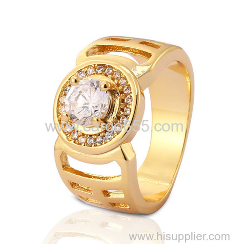 Fashion wholesale american gold plated paved diamond ring 18K Gold Plating Fashion women rings rose gold