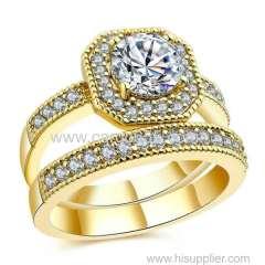 新しい到着ジュエリースクエアカットダイヤモンドリングドバイ18 Kリアルゴールドメッキ結婚指輪