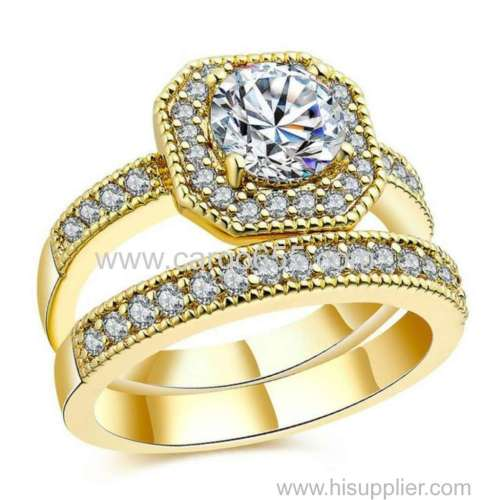 New Arrivals Jewelry Square Cut Diamond Ring Dubai 18 K Real Gold Plated Wedding Ring