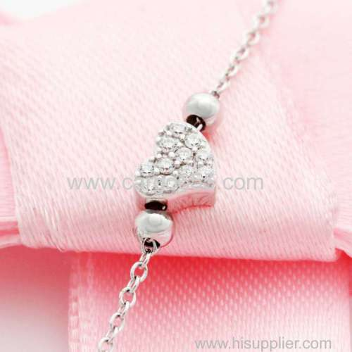 Trending Bracelets 2018 Cubic Zirconia Stone Bead Tiny Heart Bracelet Bangle For Woman