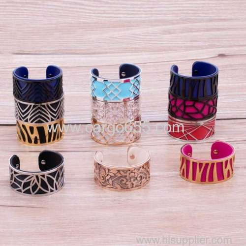 Interchangeable Customize Color Stainless Steel Wide Cuff Leather Bangle Bracelet For Women