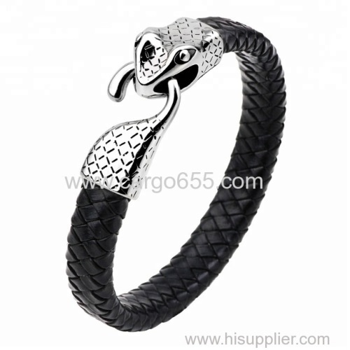 Ne Genuine Leather Bracelet Vintage Snake Punk Jewelry Stainless steel Bracelets & Bangles Charm Bracelet Men Jewelry