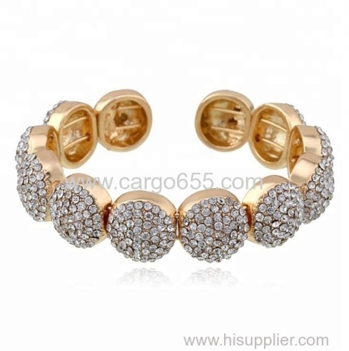 Wedding Bridal Crystal Rhinestone Bangle&Bracelet Women Vintage Gold Plated Maxi Bracelet Jewelry