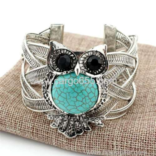 New Statement Punk Style Jewelry Vintage Owl Wide Alloy Cuff Bangle&Bracelet With Turquoise