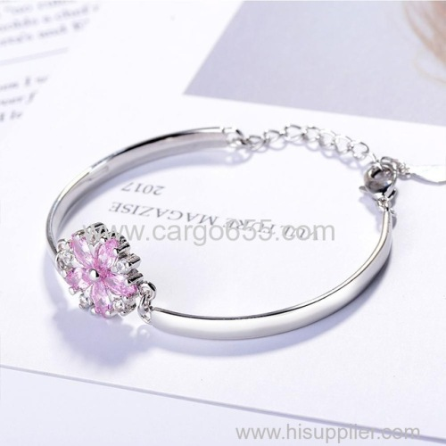 Charms Flower With Crystal Extensible Bracelets & Bangles For Women Fashion Jewelry Statement Bracelets Best Gift