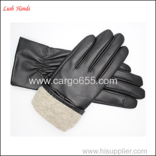 women leather gloves & mittens with bow and Palm elastic