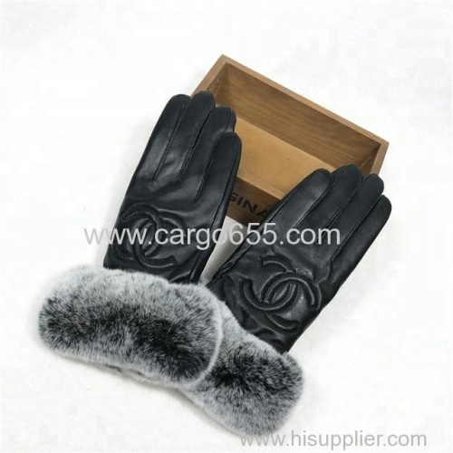 Casual Fashion Real Fur Trim Cuff Glove Winter Warm Women Sheepskin Leather Mitten
