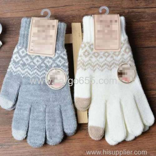wool Knit Warmer Christmas Heart Snowflake Mittens Use Smartphone Screen Gloves Stretch Snow Knitted Gloves For Women Me