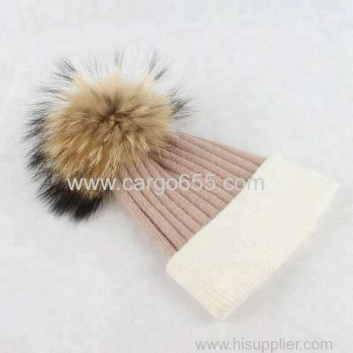 Fancy Winter Knit High Quality Plain Hat Beanies With Large Fur Pompom