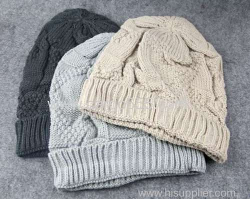 Cable Knit Thermal Yiwu Slouch Beanie Large Long Baggy Skull Cap Loose Oversize Hat Winter
