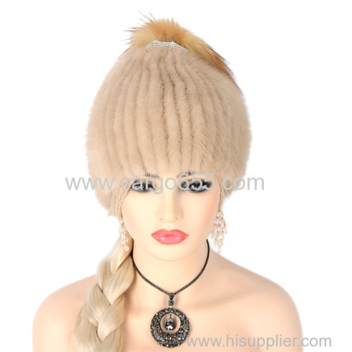 Fashion Knitted Hats Beige Winter Warm Women Real Mink Fur Hat