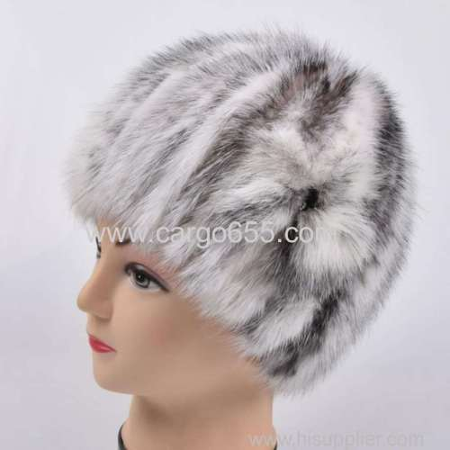 Women Knitted Mink Fur Hats With Fur Flower Women Real Fur Flower Beanies Hats Winter
