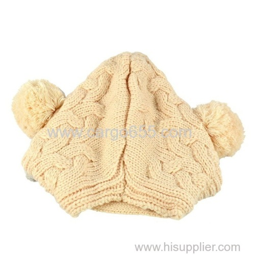 Plain Knit striped Baby Winter Warm with pompom Hat winter korean hat