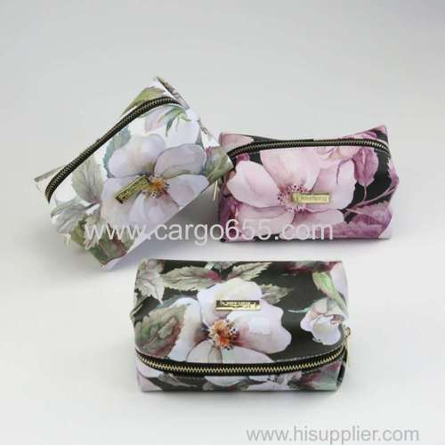 Beautiful Flower Printed PU Leather Makeup Bag Cosmetic Bag