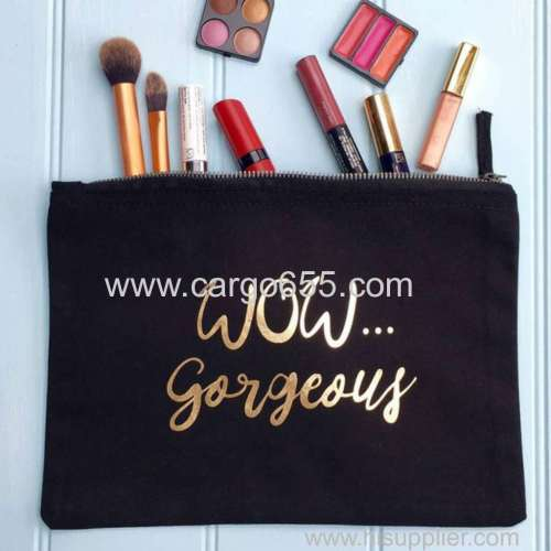 Print zipper small makeup bag canvas makeup bag