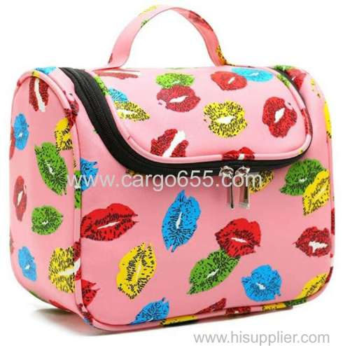 Printed hanging toiletry bag for girls microfiber printed travel cosmetic bag pink flower hanging make up bag