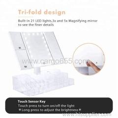 освещенный зеркальный сенсорный экран акриловый косметический составной органайзер с светодиодным зеркалом
