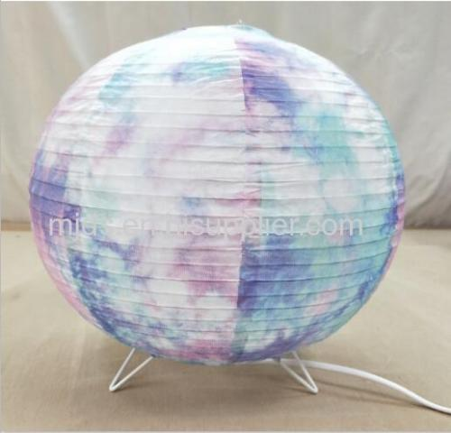 Tie Dye Print Ball Paper Lantern Table Lamp D300mm