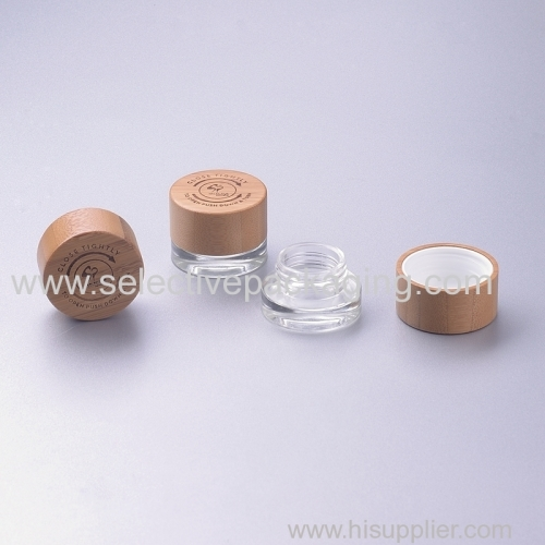 5g clear glass jar with child resistan bamboo cap