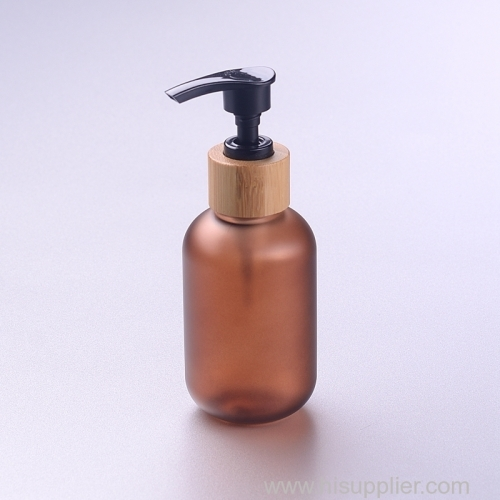120ml frosted amber PET bottle with 24/410 bamboo pump