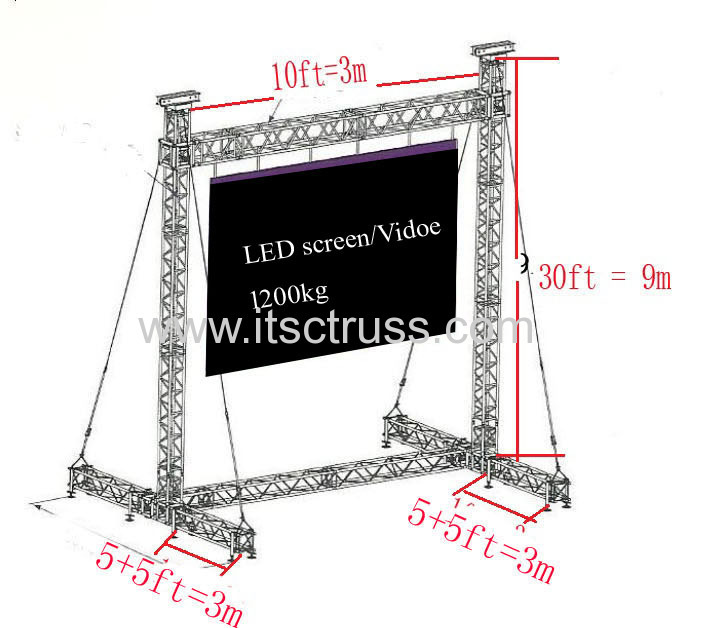 Lighting Trusses System for LED Screen Support for St. Thomas, USA