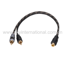 Super Soft Y Splitter RCA audio cable one Female to two Male