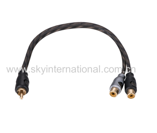 Super Soft Y Splitter RCA audio cable one male to two female
