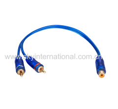 One female two male Y spliter cable for Car Audio Home Audio