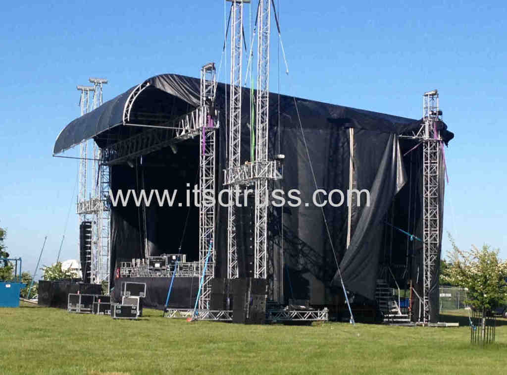 Black Fabric Scrim Surrounded Lighting Truss Roof System