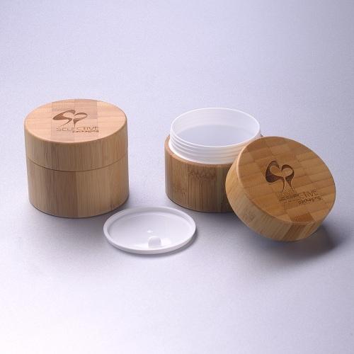 250g big capacity bamboo PP plastic face cream jar