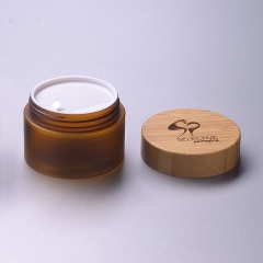 150gl amber pet plastic jar for cosmetic with bamboo cap