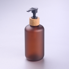 250ml boston amber pet bottle with bamboo pump